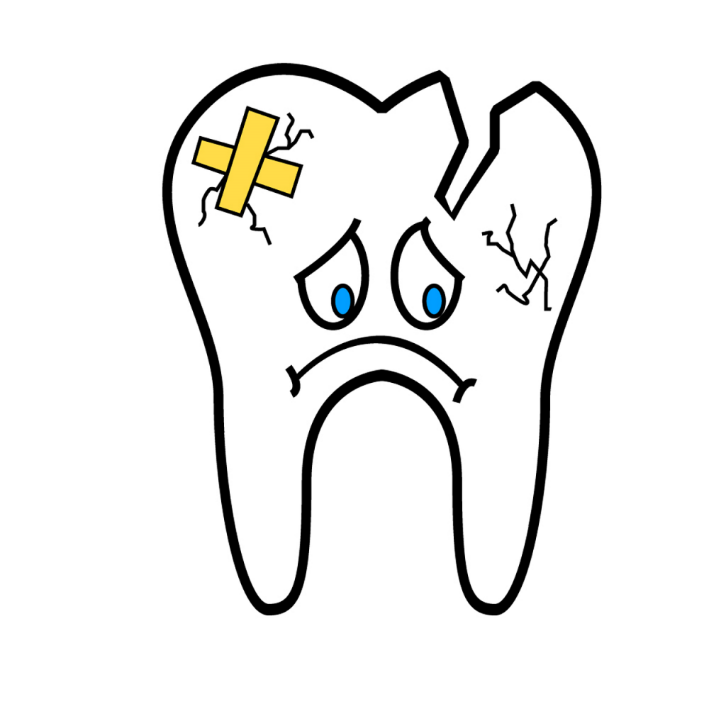 Broken sad tooth