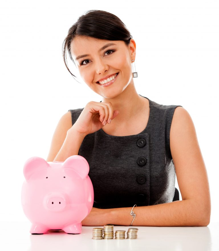 Lady and piggy bank