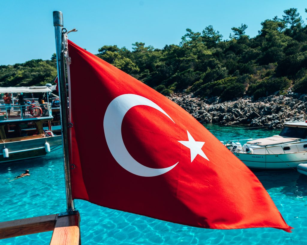 Turkey flag on the beach