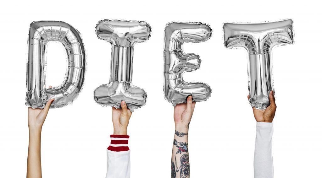 Hands showing diet balloons word