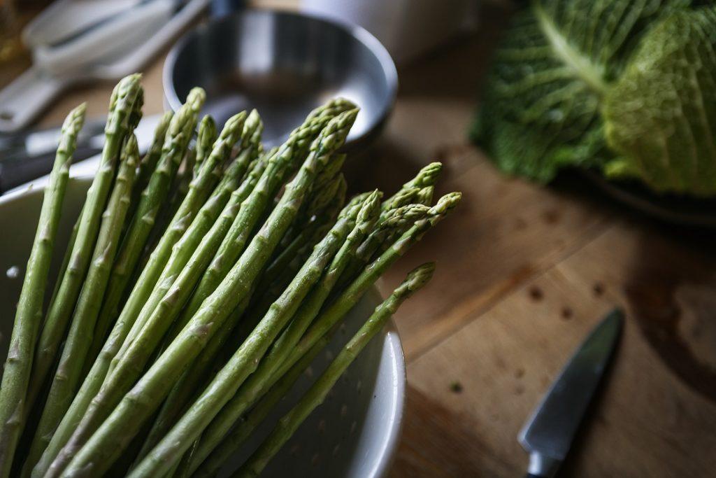 Fresh asparagus in a bowl